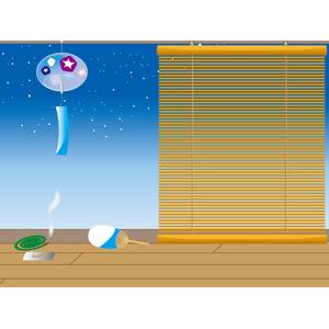 フリーイラスト, ベクター画像, EPS, 背景, 夏, 夜, 簾(すだれ), 風鈴, 蚊取線香, うちわ, 縁側