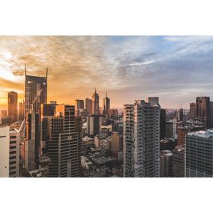 フリー写真, 風景, 建造物, 建築物, 高層ビル, 都市, 街並み(町並み), 夕暮れ(夕方), 夕焼け, オーストラリアの風景, メルボルン