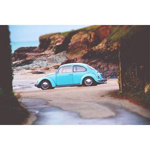 フリー写真, 乗り物, 自動車, フォルクスワーゲン, フォルクスワーゲン・ビートル, 海岸