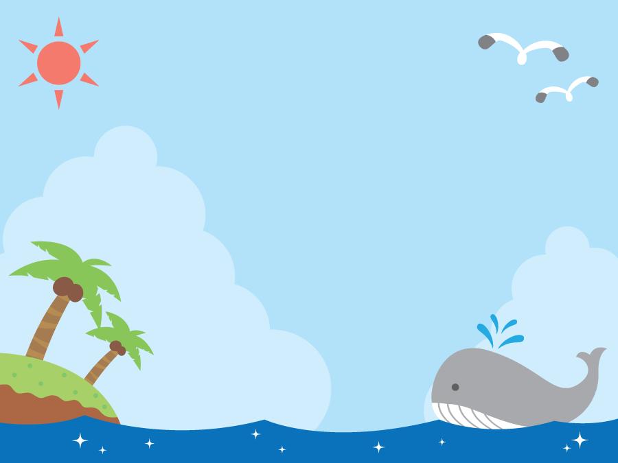 フリーイラスト クジラと南の島が浮かぶ夏の海の背景