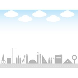 フリーイラスト, ベクター画像, AI, 背景, フレーム, 上下フレーム, 青空, 雲, 文房具, 画材, 道路