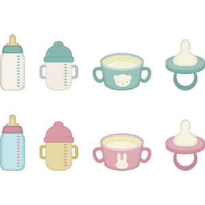 フリーイラスト, ベクター画像, AI, 育児用品, 哺乳瓶, トレーニングマグ, マグカップ, おしゃぶり