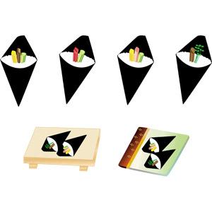フリーイラスト, ベクター画像, AI, 食べ物(食料), 料理, 米料理, 日本料理, 和食, 手巻き寿司, 寿司下駄