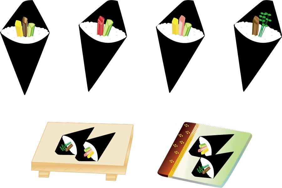 フリーイラスト 6種類の手巻き寿司のセット