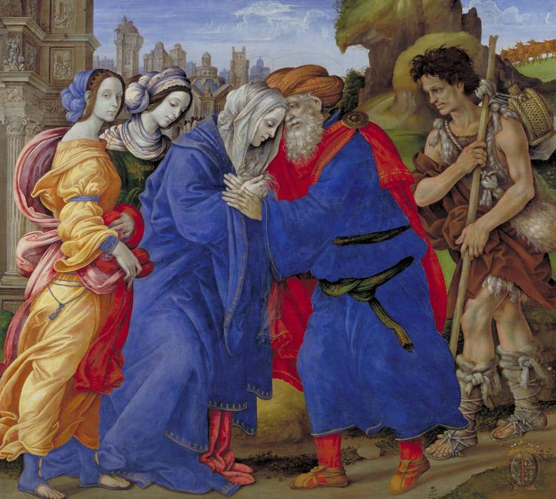 フリー絵画 フィリッピーノ・リッピ作「エルサレムの金門で出会うヨアキムとアンナ」