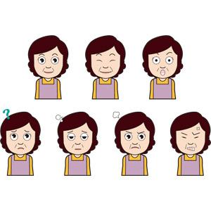 フリーイラスト, 人物, 中年女性, 驚く, 分からない, 疲れる, 怒る