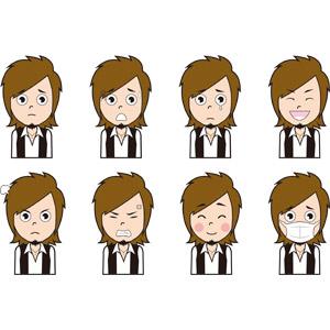 フリーイラスト, 人物, 男性, 仕事, 職業, 美容師, 困る, 焦る, 泣く(泣き顔), 笑う(笑顔), 怒る, 照れる, 衛生マスク