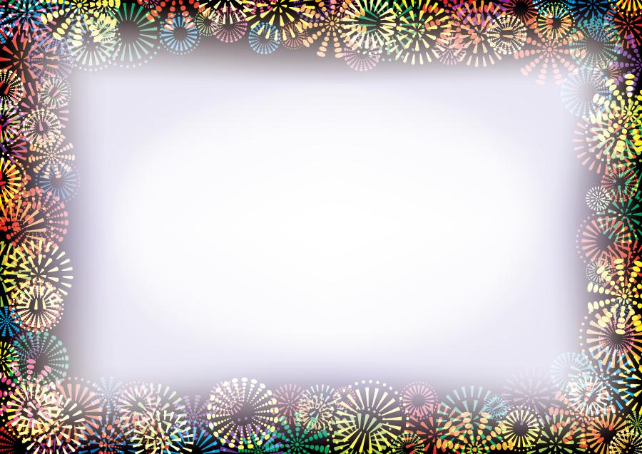 フリーイラスト カラフルな打ち上げ花火の飾り枠