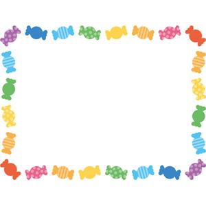 フリーイラスト, ベクター画像, EPS, 背景, フレーム, 囲みフレーム, 食べ物(食料), 菓子, 洋菓子, 飴(キャンディ), カラフル