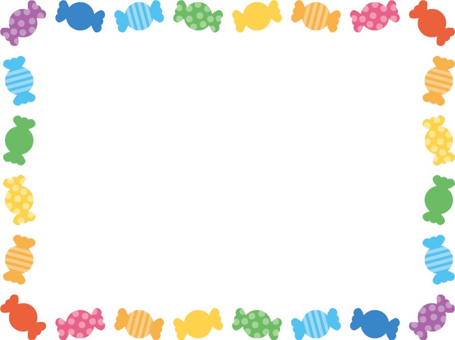 フリーイラスト カラフルなキャンディの飾り枠