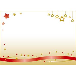 フリーイラスト, ベクター画像, EPS, 背景, メッセージカード, 年中行事, クリスマス, 12月, 星(スター), リボン