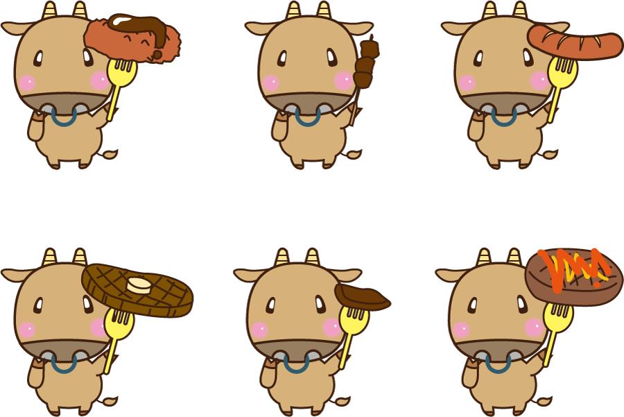 フリーイラスト 6種類のウシと牛肉料理のセット