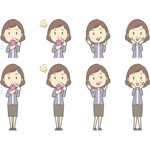 フリーイラスト, ベクター画像, AI, 人物, 中年女性, 中年女性(00267), スマートフォン(スマホ), 携帯電話, 通話, 困る, 頬に手を当てる, 照れる