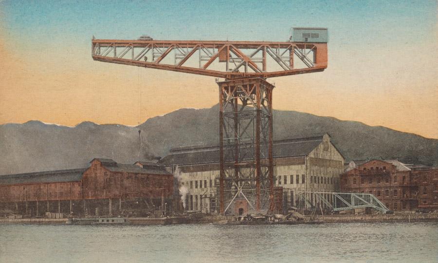 フリー写真 三菱重工業長崎造船所のハンマーヘッドクレーン