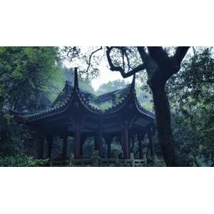 フリー写真, 風景, 建造物, 建築物, 東屋(四阿), 霧(霞), 中国の風景, 杭州市