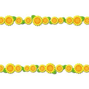 フリーイラスト, ベクター画像, AI, 背景, フレーム, 上下フレーム, 植物, 花, 向日葵(ヒマワリ), 黄色の花, 夏