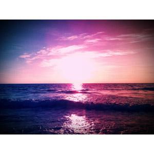 フリー写真, 風景, 自然, 海, 夕暮れ(夕方), 夕焼け, 日の入り