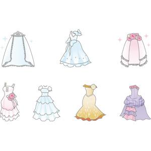 フリーイラスト, ベクター画像, AI, 結婚式(ブライダル), ウェディングドレス, ベール, 衣服(衣類), レディースファッション