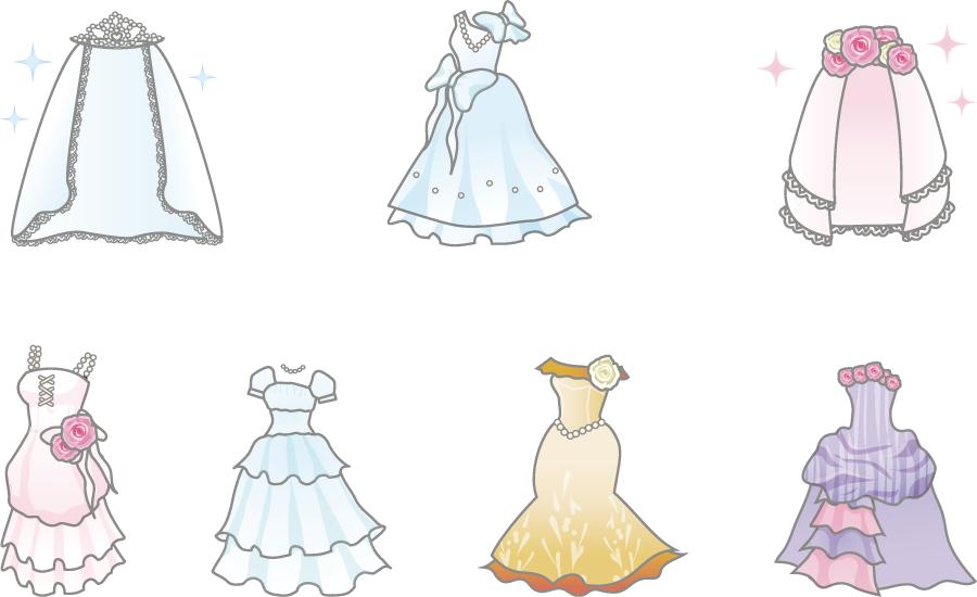 フリーイラスト ウェディングドレスとベールのセット