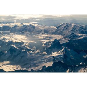 フリー写真, 風景, 自然, 山, 雪, 雲, 航空写真