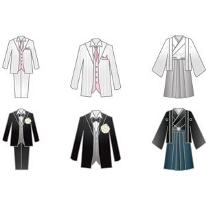 フリーイラスト, ベクター画像, AI, 結婚式(ブライダル), タキシード, 和服, 紋付羽織袴, 衣服(衣類), メンズファッション
