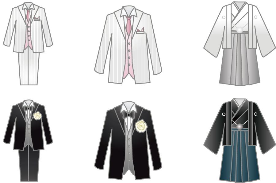 フリーイラスト タキシードと紋付羽織袴のセット