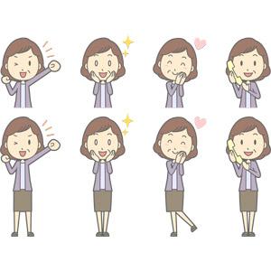 フリーイラスト, ベクター画像, AI, 人物, 中年女性, 中年女性(00267), ガッツポーズ, ウインク, 目を輝かせる, やる気, 頬に手を当てる, 恋する, 通話, 固定電話