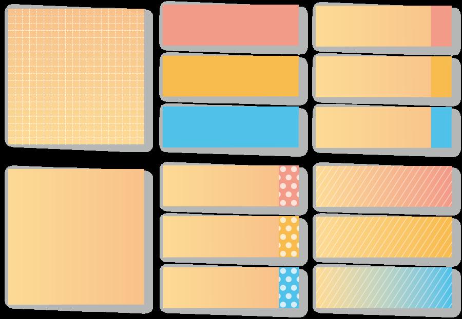 フリーイラスト 14種類の付箋のセット