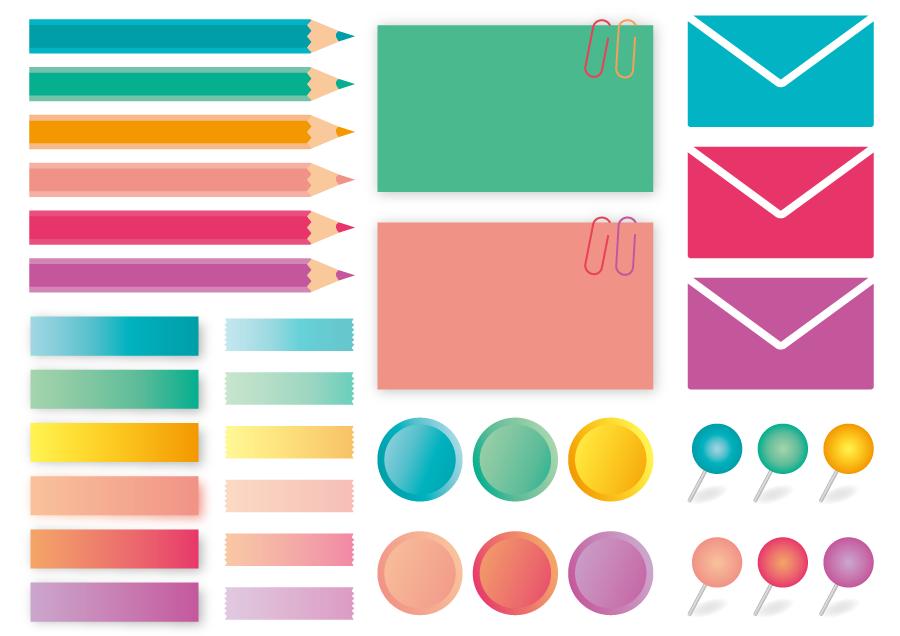 フリーイラスト 色鉛筆や付箋などのカラフルな文具のセット
