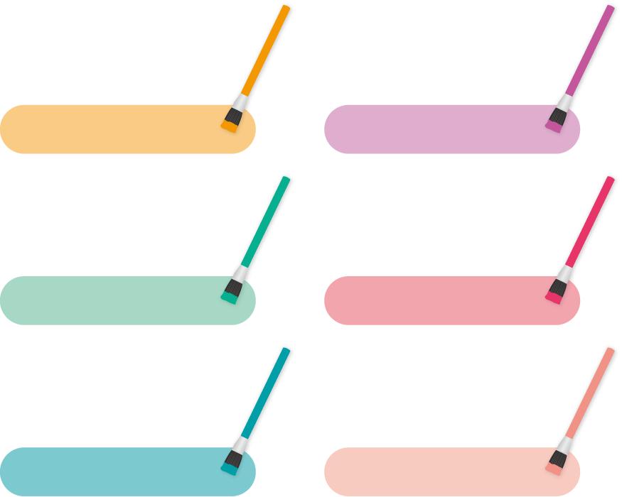 フリーイラスト 6色の絵具と絵筆の見出しのセット