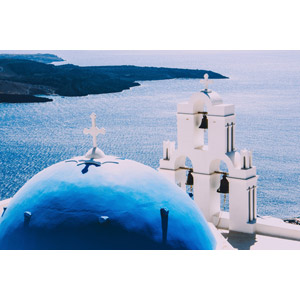 フリー写真, 風景, 建造物, 建築物, 教会(聖堂), 鐘(ベル), サントリーニ島(ティーラ島), ギリシャの風景