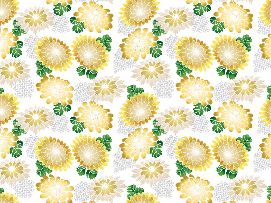 フリーイラスト 菊の花の和柄背景