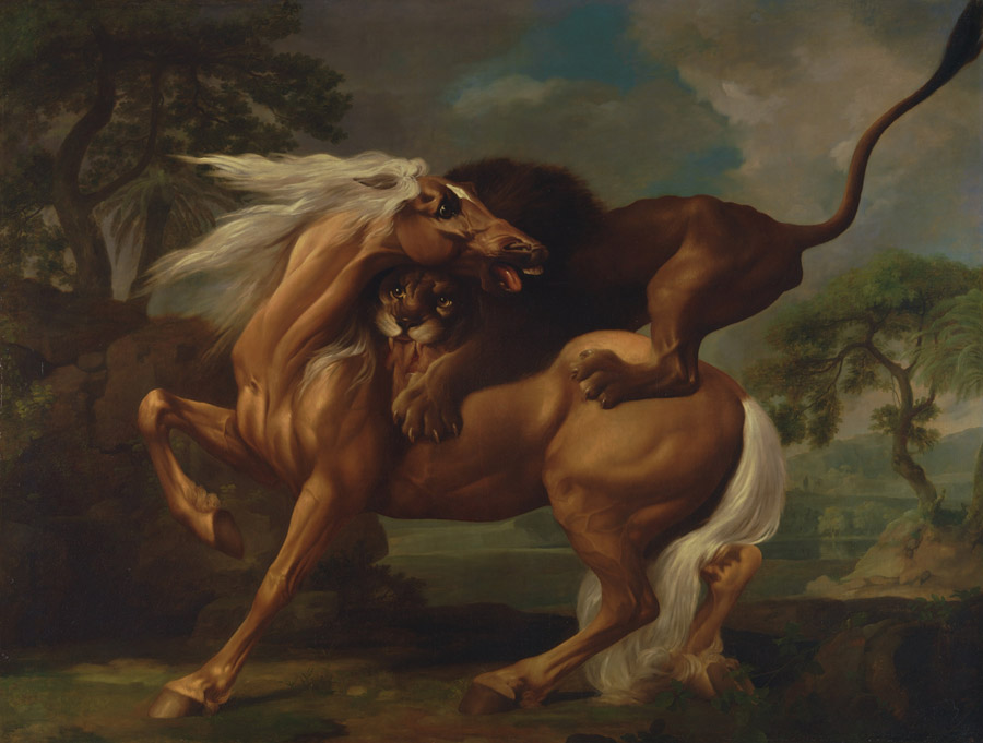 フリー絵画 ジョージ・スタッブス作「ウマを襲うライオン」