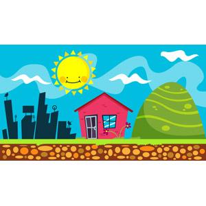 フリーイラスト, ベクター画像, AI, 背景, 太陽, 都市, 家(一軒家), 山