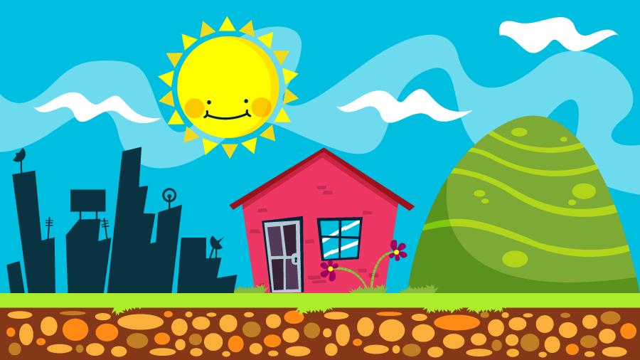 フリーイラスト 太陽と高層ビルと家と山の背景