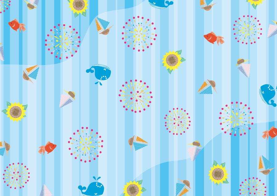 フリーイラスト 花火やヨットやクジラやひまわりなどの夏の背景