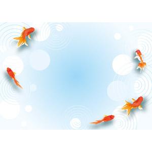 フリーイラスト, ベクター画像, AI, 背景, 水, 波紋, 動物, 魚類, 魚(サカナ), 金魚(キンギョ), 夏