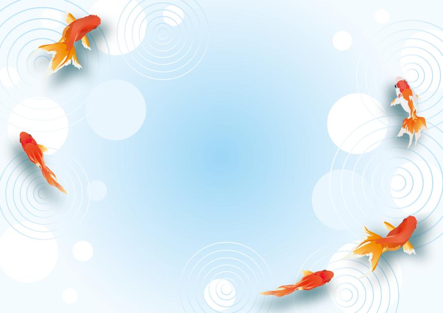 フリーイラスト 波紋と水中を泳ぐ金魚の背景