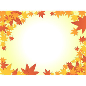 フリーイラスト, ベクター画像, AI, 背景, フレーム, 囲みフレーム, 植物, 葉っぱ, もみじ(カエデ), 紅葉(黄葉), 秋
