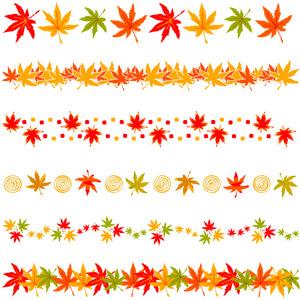 フリーイラスト, ベクター画像, AI, 飾り罫線(ライン), 植物, 葉っぱ, もみじ(カエデ), 紅葉(黄葉), 秋