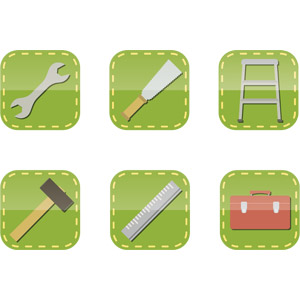 フリーイラスト, ベクター画像, AI, アイコン, 工具, スパナ, 鋸(のこぎり), 金槌(トンカチ), 脚立, 定規(物差し), 道具箱