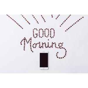 フリー写真, 背景, スマートフォン(スマホ), コーヒー豆, おはよう