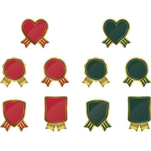 フリーイラスト, ベクター画像, AI, 飾り(装飾), ラベル, ハート, リボン, 盾型, 円形(サークル)