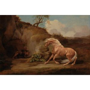 フリー絵画, ジョージ・スタッブス, 動物画, 哺乳類, 馬(ウマ), ライオン, 怖い(恐い)