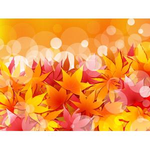 フリーイラスト, ベクター画像, AI, 背景, 植物, 葉っぱ, もみじ(カエデ), 紅葉(黄葉), 秋, 玉ボケ, 落葉(落ち葉)