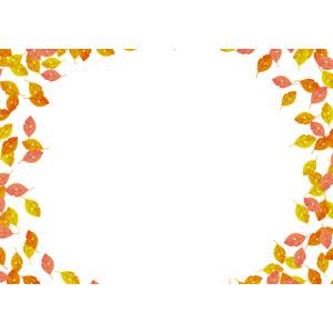 フリーイラスト, ベクター画像, AI, 背景, フレーム, 円形フレーム, 植物, 葉っぱ, 紅葉(黄葉), 落葉(落ち葉), 秋