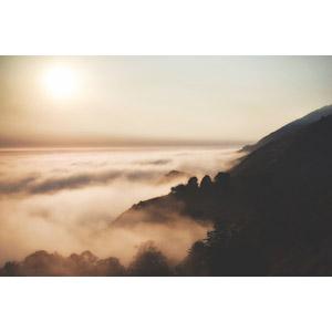フリー写真, 風景, 自然, 雲, 雲海, 朝日, 朝, 海岸, 山, アメリカの風景, カリフォルニア州, ビッグサー