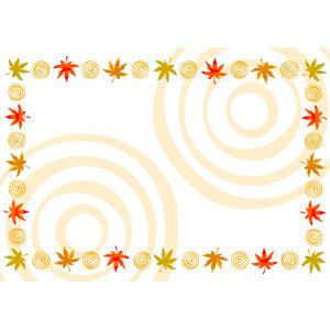フリーイラスト, ベクター画像, AI, 背景, フレーム, 囲みフレーム, 植物, 葉っぱ, もみじ(カエデ), 紅葉(黄葉), 秋, 波紋