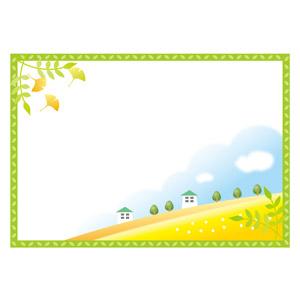 フリーイラスト, ベクター画像, AI, 背景, フレーム, 囲みフレーム, 植物, 葉っぱ, イチョウ, 秋, 紅葉(黄葉), 丘, 田舎, 家(一軒家)