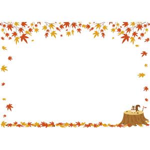 フリーイラスト, ベクター画像, AI, 背景, フレーム, 囲みフレーム, 植物, 葉っぱ, もみじ(カエデ), 紅葉(黄葉), 秋, 動物, 哺乳類, 栗鼠(リス), どんぐり(ドングリ)